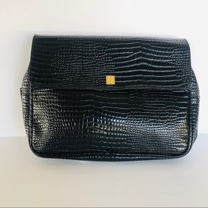 GIVENCHY • black patent gator clutch